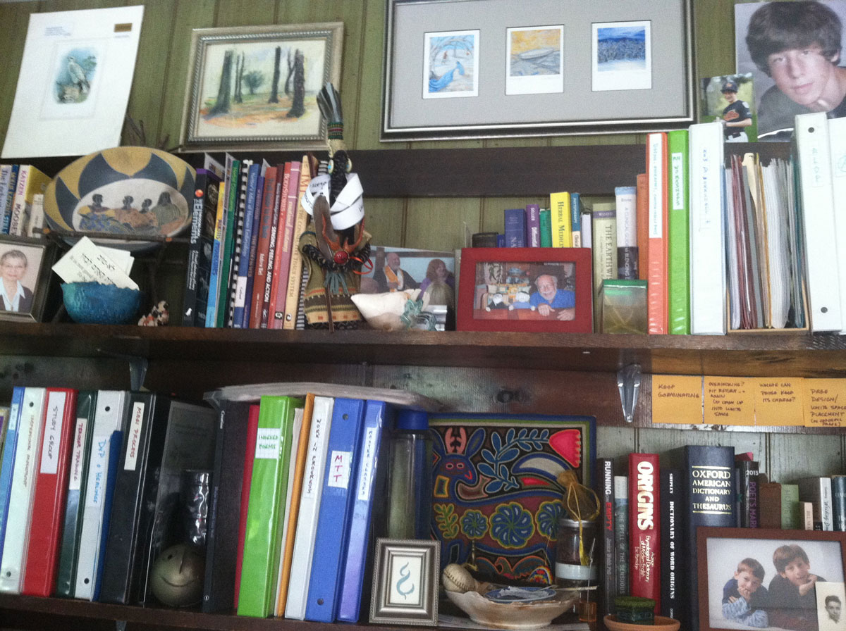 Shelves-with-images-of-Blue-Deer-and-Family